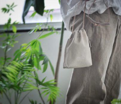 pick up items | コンビ革の巾着ポシェットS